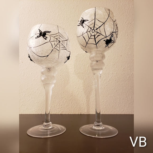 Spiderweb Candle Holders Set of 2.